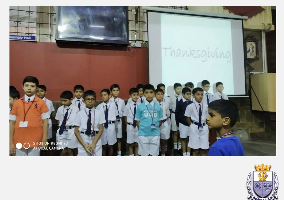 Class 3-2 Special Assembly on Thanksgiving